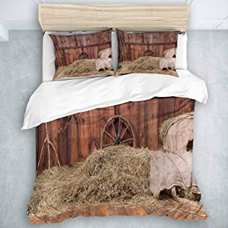 ADONINELP Duvet Cover Set, Wood and Hay Background, Modern Style for Men and Women (3 Pieces, King Size)