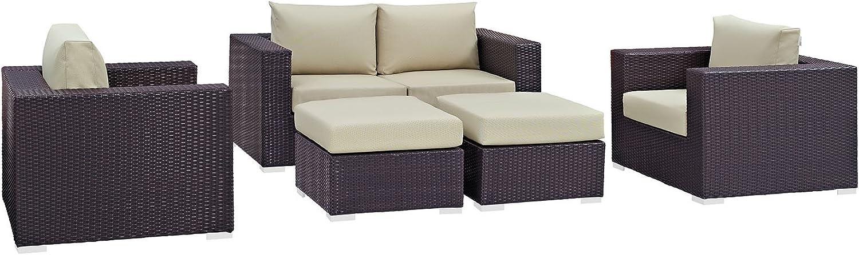 Modway Convene Wicker Rattan 5-Piece Furniture Outdoor Set Patio Max 83% OFF 2021