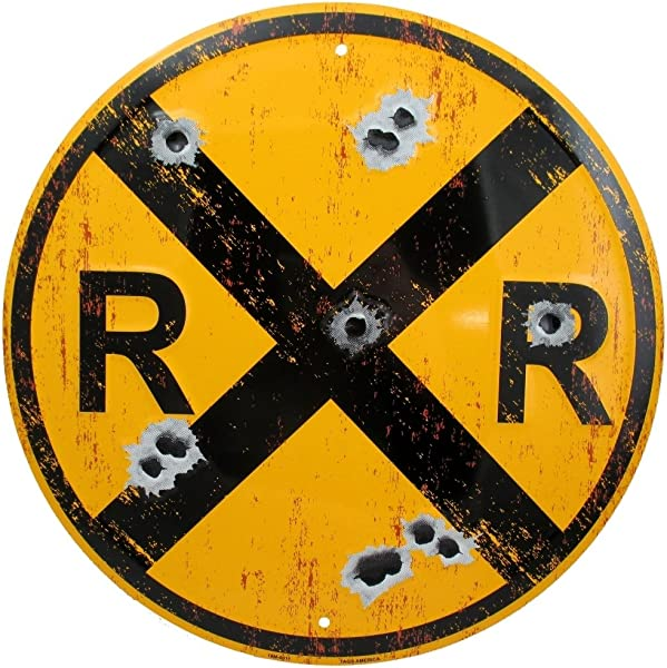 Vintage Railroad Crossing Sign Distressed 12 Inch Round Metal RR XING Room Wall D Cor Railfan Train Lover And Enthusiast Gifts