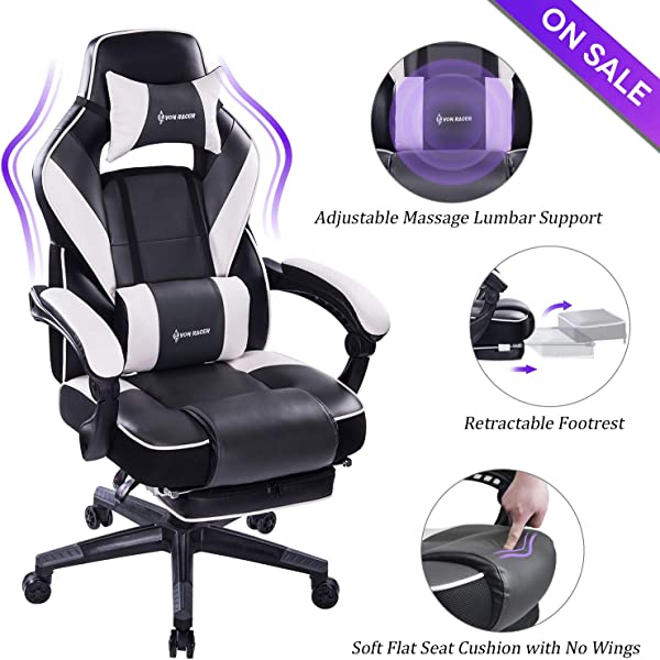 VON RACER Massage Reclining Gaming Chair Ergonomic High Back Racing Computer Desk Office Chair With Retractable Footrest And Adjustable Lumbar Cushion