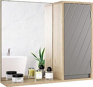 HOMECHO Armoire Murale avec Miroir, Armoire de Toilettes, Meuble de Salle de Bain avec Étagères de Rangement, 1 Portes à M...