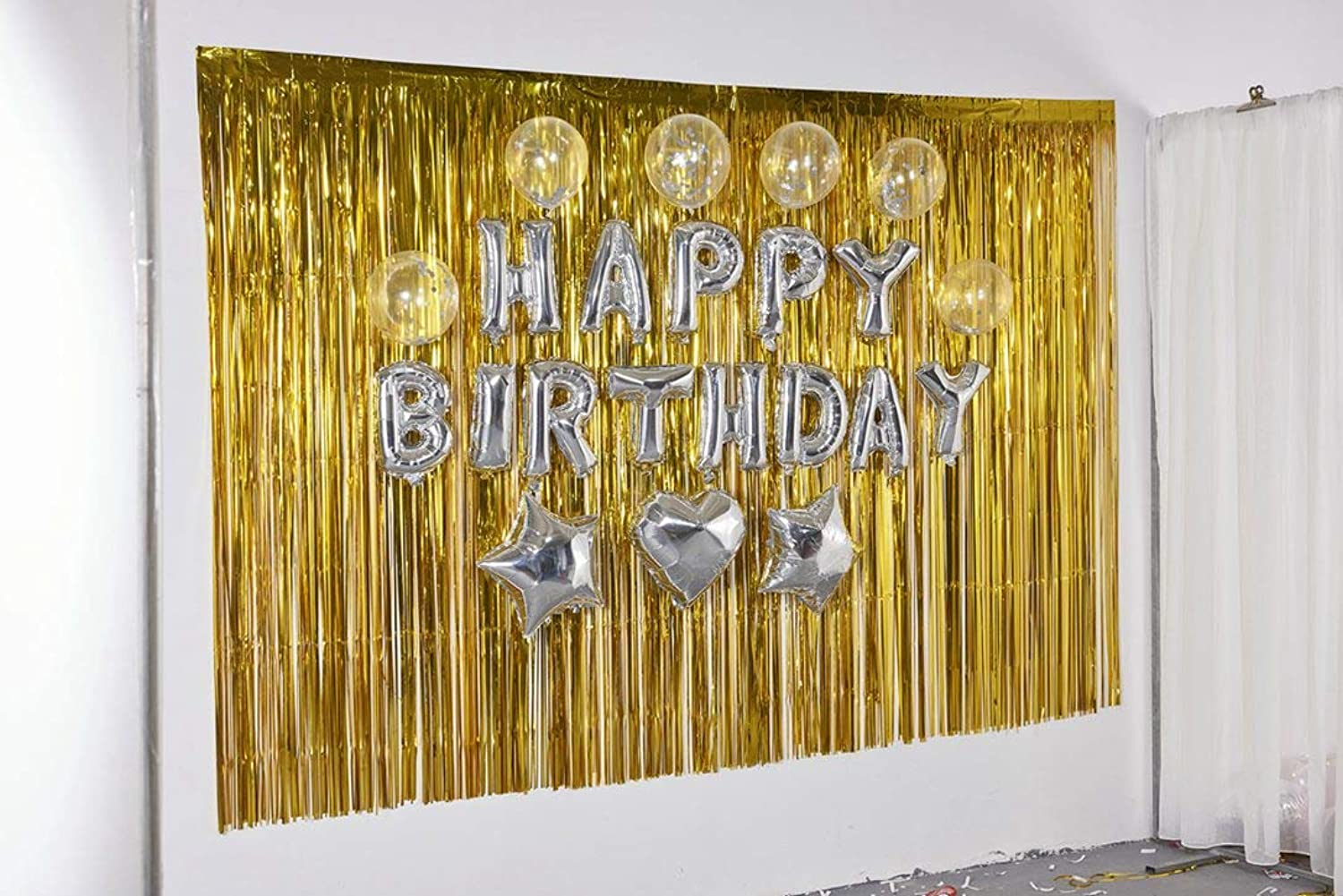 Best Selling Foil Fringe-Backdrop-6FTX8FT-gold Tinsel Metallic Fringe Curtains Shinny Party Accessory(Pack of 2)