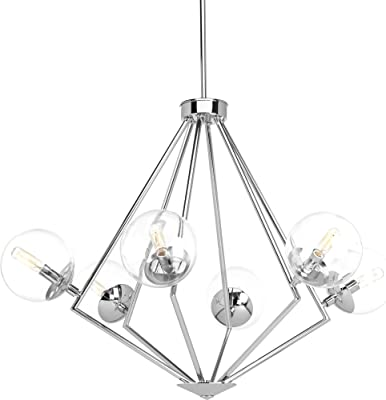 Progress Lighting P4756-15 Mod Six-Light Chandelier, Polished Chrome