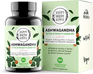 Ashwagandha 2100mg – Fast Superior Absorption – 100% Pure, Potent Organic Ashwagandha Root Powder and Black Pepper - Powerful Natural Stress Relief Supplement - Mood Adrenal Cortisol Anxiety, 90