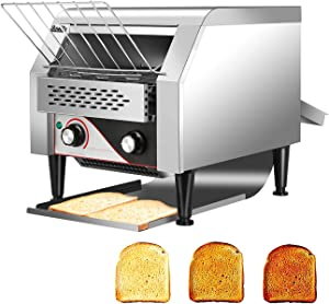 Commercial Conveyor Toaster 300PCS Per Hour Toasting Bread Bagels 110V Electric Countertop Belt Machine for Restaurant Home Bread Bagel Breakfast Food