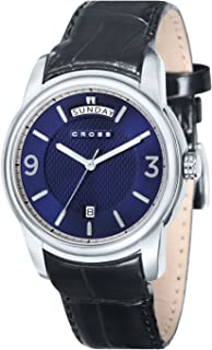 Cross Palatino Men's Quartz Watch with Blue Dial Analogue Display and Black Leather Strap CR8007-03