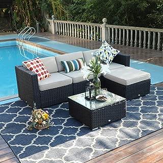 PHI VILLA Outdoor Sofa- Patio Wicker Sectional Furniture Set (5-Piece, Beige)