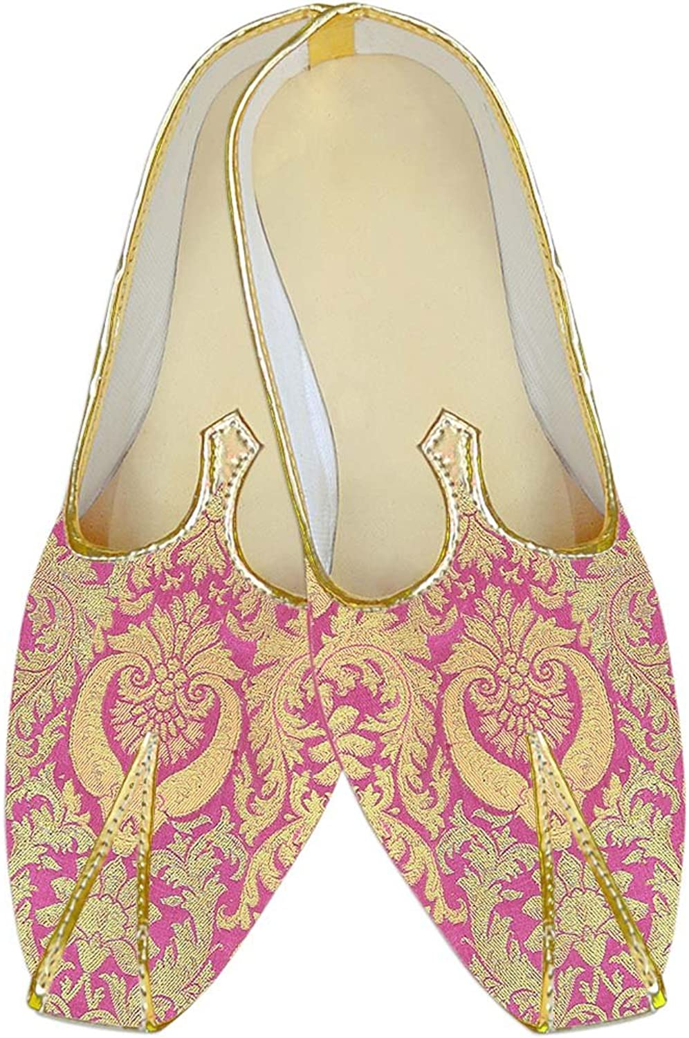 INMONARCH Mens Pink Kheenkhap Wedding shoes golden Floral MJ18413