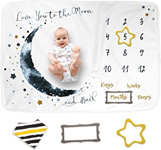 """Luka&Lily Baby Monthly Milestone Blanket for Baby Boy and Girl, Baby Photo Blanket for Newborn Baby Shower, Monthly Blanket for Baby Pictures, Includes Bandana Drool Bib + 2 Frames, Large 60""""x40"""""""