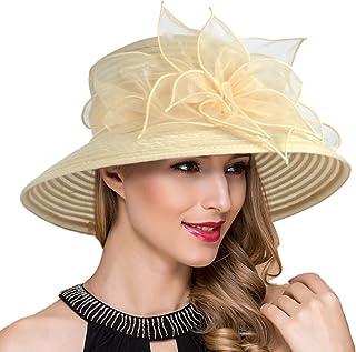 3bb64fd2227 Women Kentucky Derby Church Dress Cloche Hat Fascinator Floral Tea Party  Wedding Bucket Hat S052