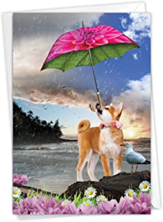 The Best Card Company, Raining Dogs Blue Skies - Birthday Greeting Card with Envelope - Magical Pet Animal C6823DBDG