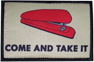 TrendyLuz Red Stapler Come and Take It Office Tactical Morale Hook & Loop Patch