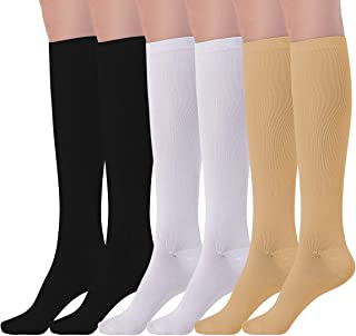 NOVAYARD 4/6 Pairs Knee High Graduated Compression Socks Women & Men (15-20mmHg), Best for Running, Nurses, Shin Splints, Flight Travel & Pregnancy, Reduce Pain and Swelling