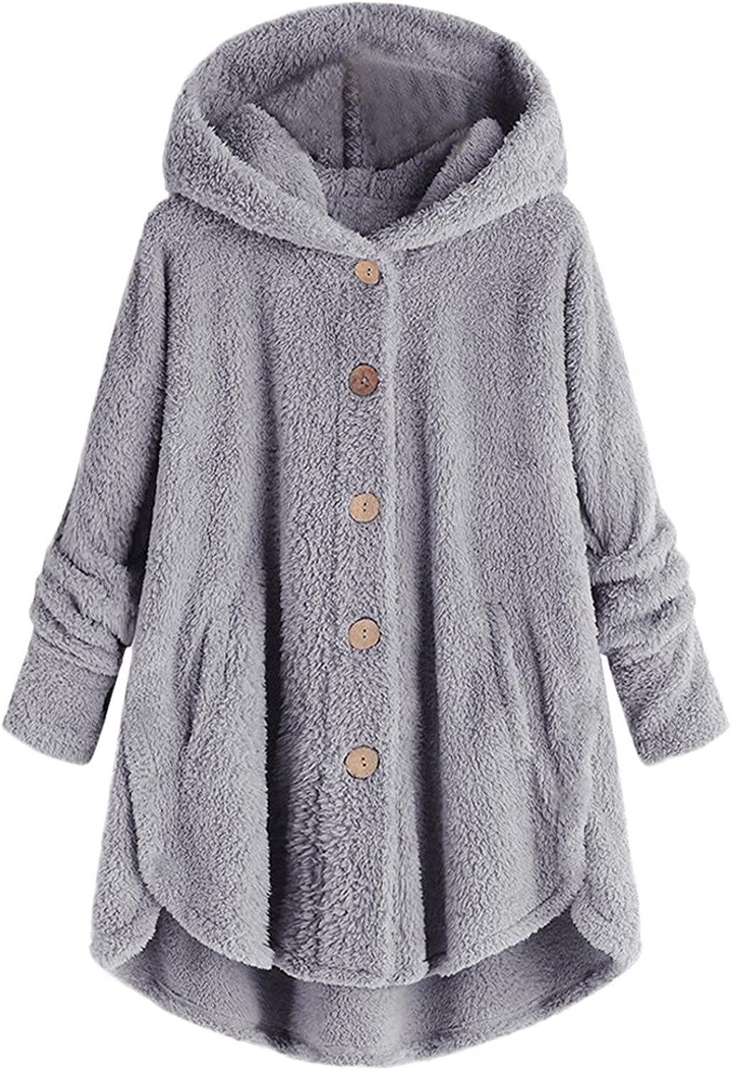 Plush Pockets Hoodies for Women Buttons Down Warm Cardigan Tops Plus Size Long Sleeve Sweater Coat