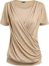 Zeagoo Women Drape Tops Stretchy Round Neck Tops Short Sleeve Front Pleated Blouse