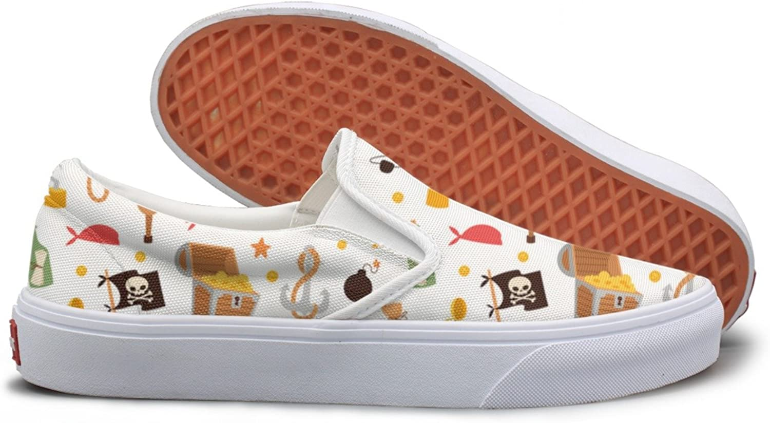 SEERTED Pirate Stickers Icons Treasure Chest White Youth Sneakers Mesh