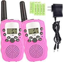 Aedo Kids Walkie Talkies with Rechargeable Battery , 22 Channel FRS/GMRS Two Way Radio Up to 3 KM UHF Handheld Walkie Talkies for Children (1 Pair) (Pink)
