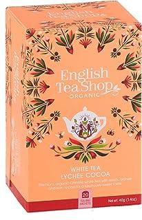 DEU English Tea Shop Weißer Tee mit Litschi und Kakao Handverlesene Teesammlung aus Sri Lanka - 1 x 20 Beutel 40 Gramm