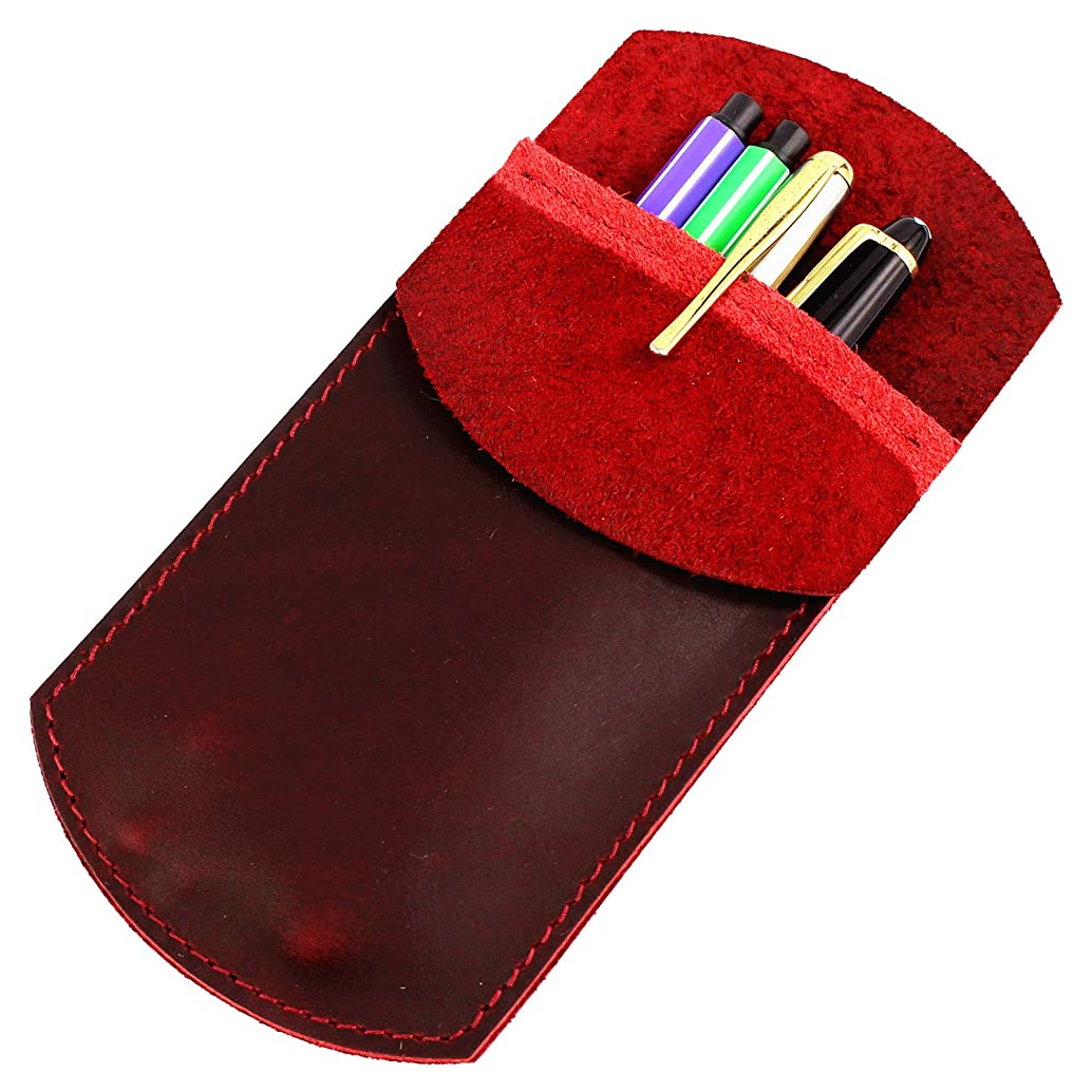 LXFF Durable Leather Pocket Protector Fountain Pen Sleeve Case Holder Pouch Cover Vintage Red