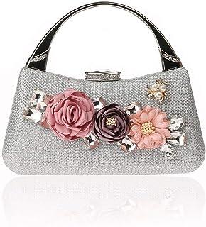 IRVING Vintage Evening Clutch Bag Wedding Purses Bridal Prom Handbag Party Bags Metal Frame Hard Case (Color : E)
