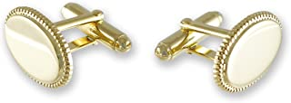 Oval Cufflinks Made in USA - Gold Tone - for Men, Perfect...