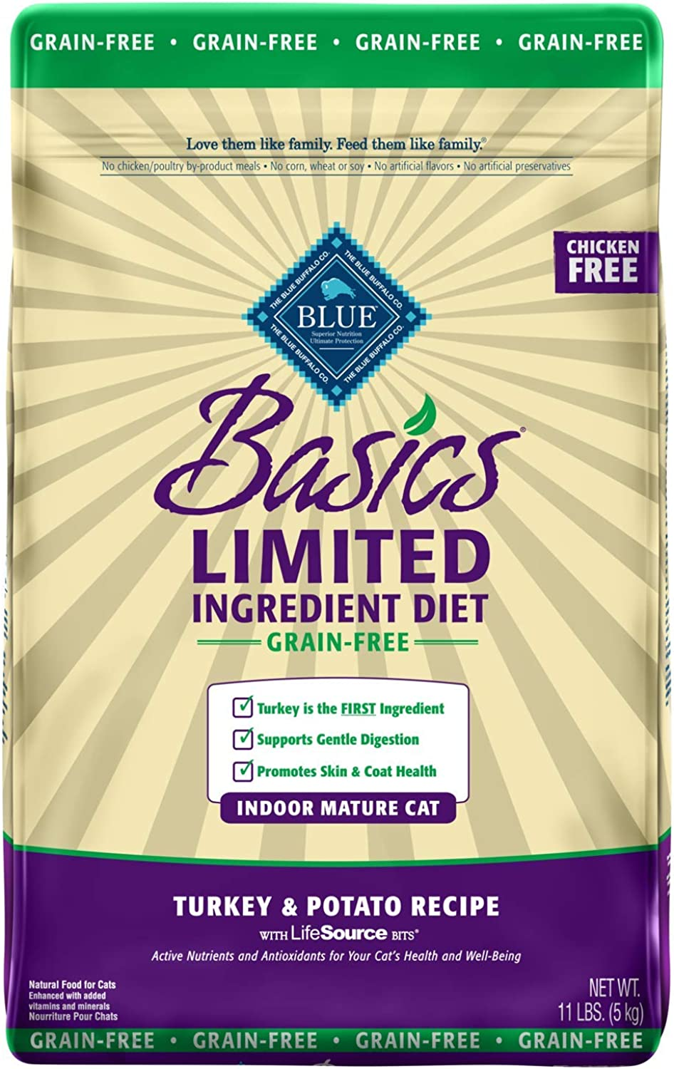 bluee Buffalo Basics Limited Ingredient Diet Grain Free, Natural Indoor Mature Dry Cat Food, Turkey & Potato 11Lb