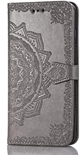 Redmi 5A Wallet Case Grey Mandala, Redmi 5A Flip Case with Card Holder, Patterned Faux Leather Phone Cover with Magnet Kickstand & Wrist Strap for Redmi 5A Case Women