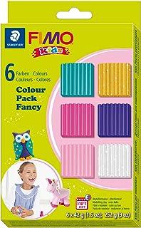 Staedtler 8032 02. Bloques de pasta para modelar Fimo Kids. Pack con 6 pastillas de colores variados.