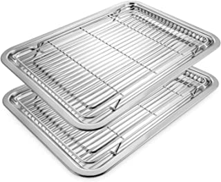Deppon Stainless Steel 2 Baking Sheets and 2 Cooling Racks Set, No-stick Half Sheet Pan Roast Trays for Cookies, Cakes, Breads (Sheets & Racks)