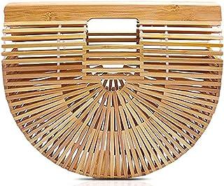"Hossejoy Bamboo Handbag Handmade Bamboo Bag Summer Bench Tote Bag For Women, Natural Bamboo, 11.35"" X 9.7""X2.95''"