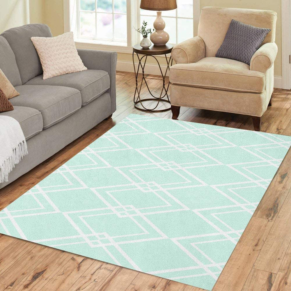 Amazon Com Pinbeam Area Rug Blue Diamond Pattern Mint Green And White Abstract Home Decor Floor Rug 2 X 3 Carpet Kitchen Dining