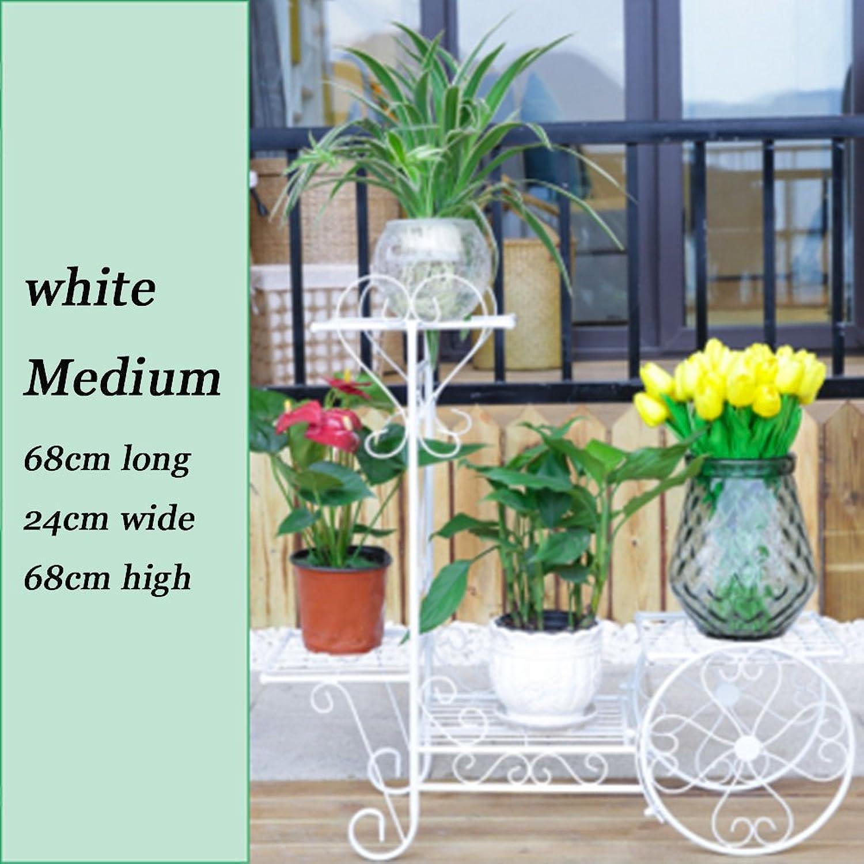 Iron Multi-Layer Floor Type Indoor and Outdoor Living Room Balcony Folding Flower Rack,White,M