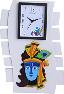 Wall Clock/Krishna/Lord Krishna/Designer Quartz Movement/White Base with Colored Krishna Face