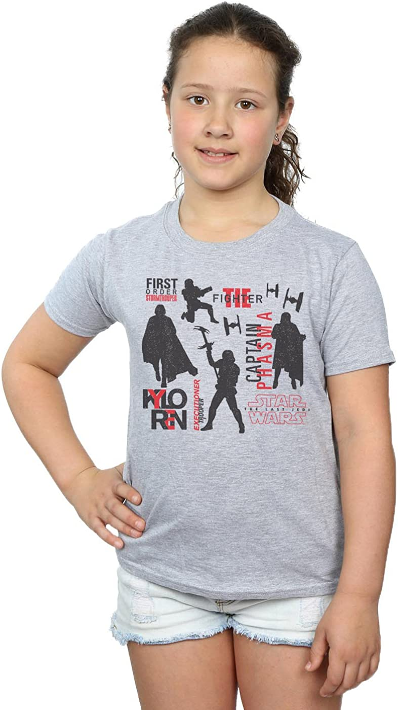 STAR WARS Girls The Last Jedi First Order Silhouettes T-Shirt 5-6 Years Sport Grey