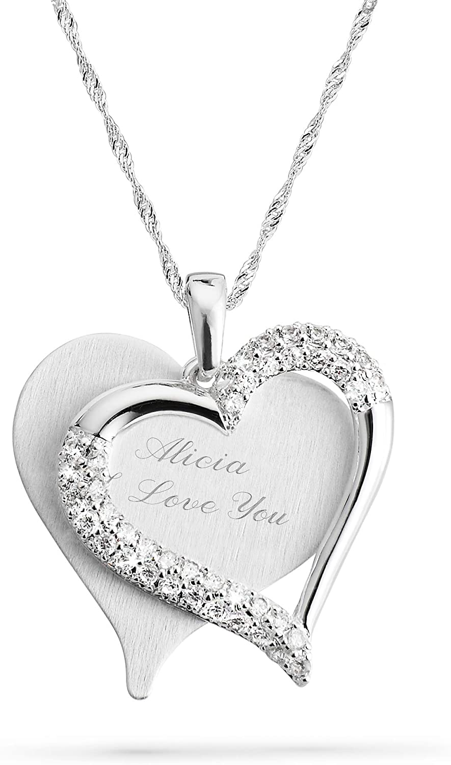 THINGS Quantity limited REMEMBERED Personalized Brushed with Heart Las Vegas Mall Engra Necklace