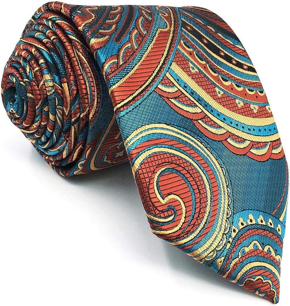 SHLAX&WING Geometric Multicolored Skinny Mens Tie Silk Necktie Wedding Patterned