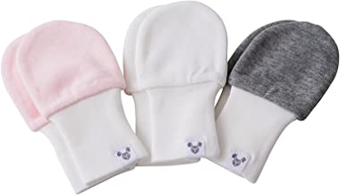 Baby Girl Mittens, Oversized - 6 to 12 Months, fits Larger Hands, Soft Cotton, Value Pack Set of 3 - Pink, Grey White