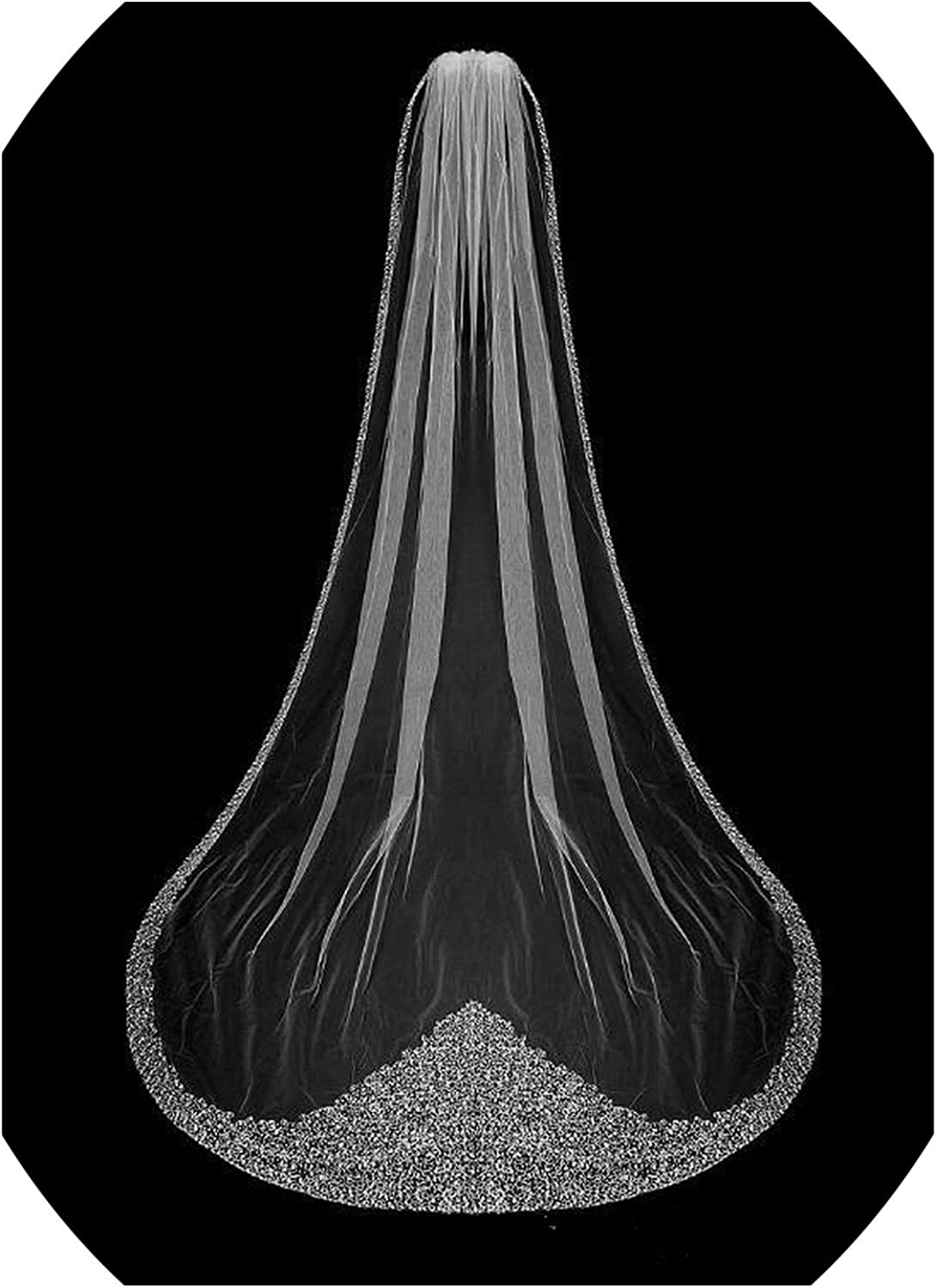 Luxury Crystal Bridal Veils One Tier Cathedral Long Bling Bling Beaded Wedding Veil Ivory Or White Veil With Comb,Ivory,300Cm
