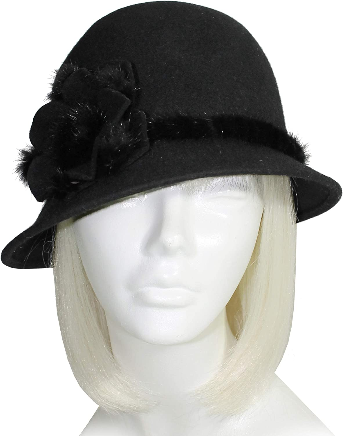 Mr. Song Millinery Felt Bell Cloche Hat with Bias Brim  Black FH131