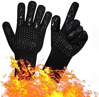 耐熱グローブ 耐熱手袋 バーベキューグローブ クッキンググローブ 耐熱800℃ 手袋 滑り止め 左右兼用 両手兼用 着脱簡単 (2枚)
