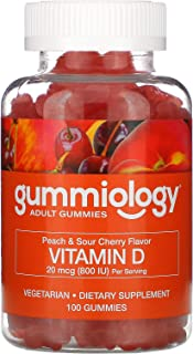 Gummiology Adult Vitamin D3, 20 mcg (800 IU), Peach & Sour Cherry Flavors, 100 Vegetarian Gummies