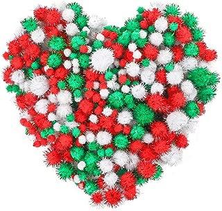 Outuxed 400Pcs Assorted Glitter Christmas Pom Poms, Red White Green Glitter Pom Pom Balls for Christmas Crafts, DIY and Decorations, 4 Sizes (1cm, 2cm, 2.5cm, 3cm)