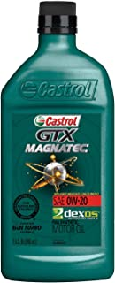 Castrol 06006 GTX MAGNATEC 0W-20 Full Synthetic Motor Oil, 1 Quart, 6 Pack
