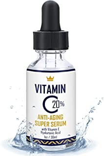 Vitamin C Serum for Face - 20% Vitamin C Super Serum with Hyaluronic Acid and Vitamin E - USA Made Anti-Aging and Hydrating Facial Serum - Best Anti Wrinkle Solution for Younger and Brighter Skin