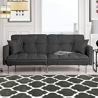 Divano Roma Furniture EXP54-3S-DGR Collection Modern Plush Tufted Linen Fabric Splitback..