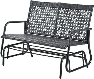 Koonlert@shop Double 2 Person Patio Outdoor Glider Bench Yard Loveseats Wicker Swing Chair Black #705