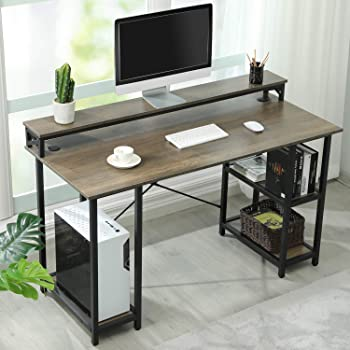 "Sedeta 55"" Computer Desk, Office Desk with Storage Shelves, Large Modern Office Desk Computer Table, Studying Writing Desk Workstation with Built-in Hutch for Home Office, Vintage Walnut"