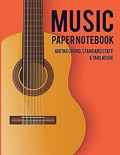 Music Paper Notebook: Guitar Chord, Standard Staff & Tablature - Classic Guitar Design