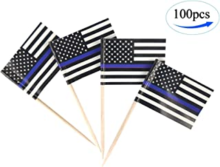 Thin Blue Line USA American Police Flags,100 Pcs Cupcake Toppers Flag, American Police flag Toothpick Flag,Small Mini Stick flags Picks Party Decoration Police Celebration Cocktail Food Bar Cake Flag