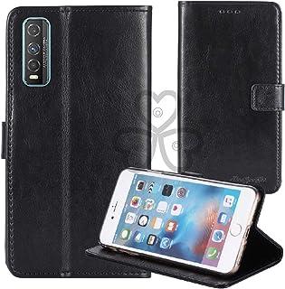 TienJueShi Black Book Stand Retro Flip Leather Protector Phone TPU Silicone Case For Vivo Y70t 6.53 inch Gel Cover Etui Wa...